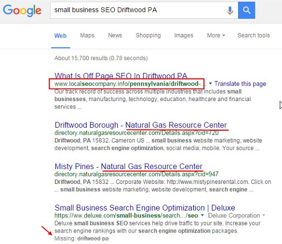 search results for SEO driftwood PA