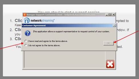 give support technician permission to access your device