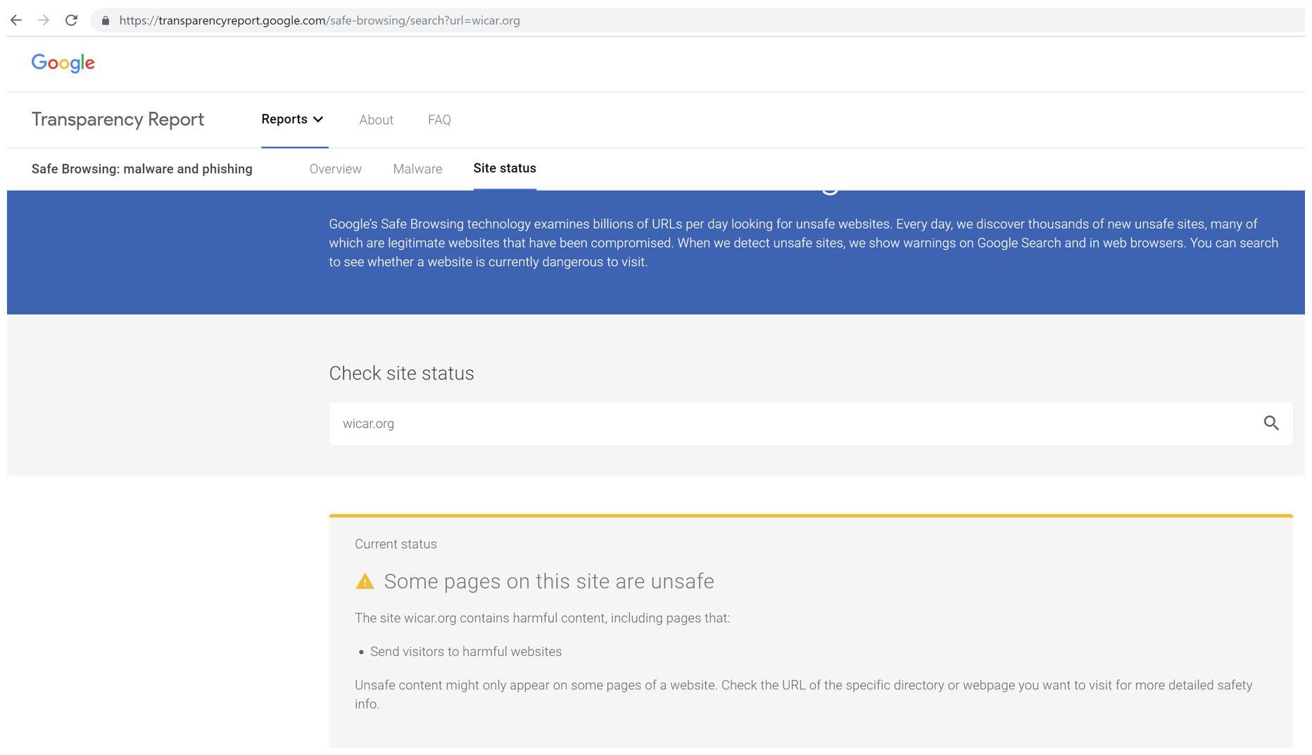 Google Safe Browsing Web Page Image